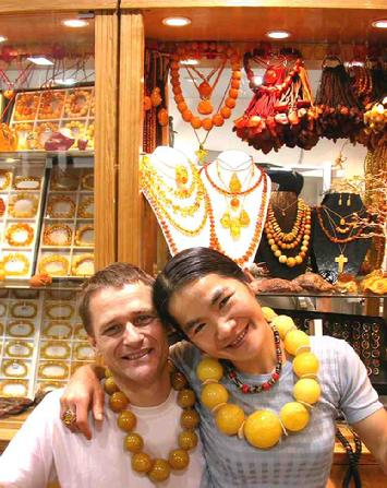 My wife and I in our shop in Lamma Island. LAMMA AMBER SHOP