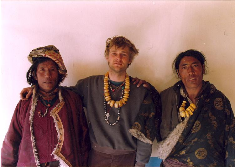 Me selling amber in Tibet, 1992